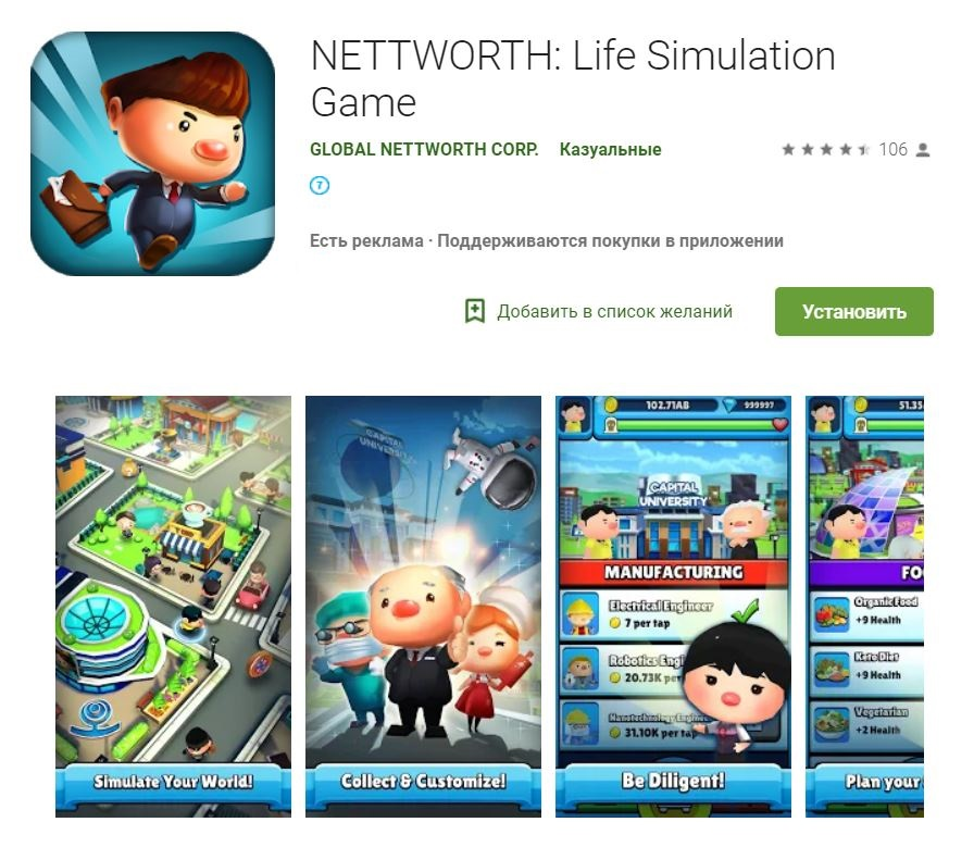 Nettworth life simulator